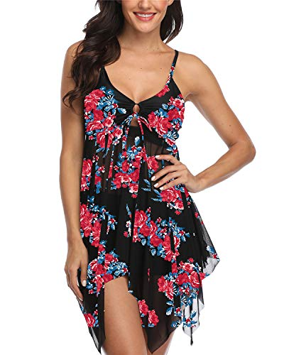 Temptme Womens Black Pink Mesh Flowy Tankini Floral Swimdress Two Piece Swimsuits Swim Dress with Boyshort
