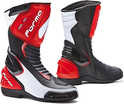 Forma Freccia - Botas para moto (talla 44), color negro, blanco y rojo