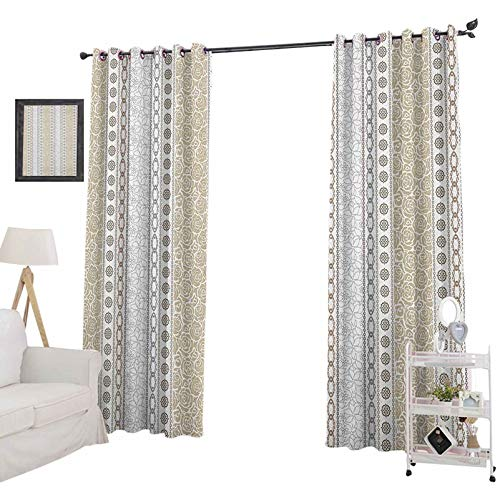 YUAZHOQI Rose curtainsVintage Vertical Borders with Abstract Blossoms and Classical Victorian Motifs Curtains for Girls Bedroom 52' x 108', Grey Tan and White