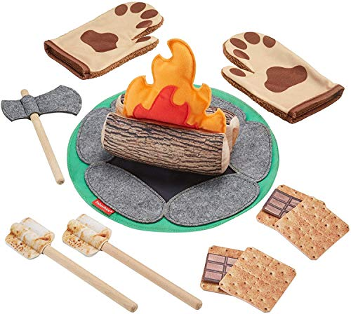 Fisher Price S more Fun Campfire 18 Piece Pretend Camping Play Set with Real Wood for Preschoolers Ages 3 Years and Up [Amazon Exclusive]