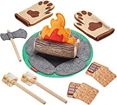 """Camping role play set for preschoolers ages 3 years and up 2-sided mat for campfire play or picnic, stuffed log with crinkle fire, andfelt axe """"Roast"""" s'mores: wood sticks and pretend marshmallows, chocolate, andgraham crackers Slip on the weara..."""