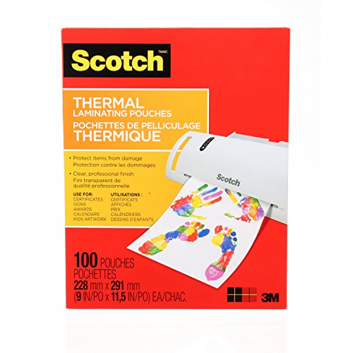 Scotch Thermal Laminating Pouches, 9 x 11.5-Inches, 3 mil thick, 100-Pack (TP3854-100-C)