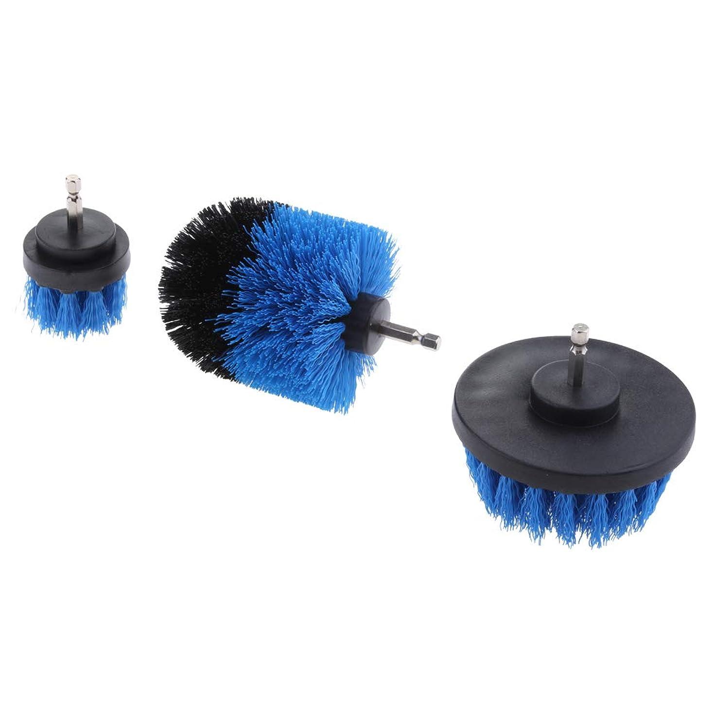 遅れ付添人教授清掃ブラシ 電動ドリルブラシ 1/4インチ タイル 浴漕 グラウト 清掃ブラシ スクラブブラシ 全5色選択 - 青