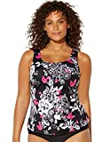 Swimsuits for All Women's Plus Size Black Pink Floral Tankini Top 26 Multi from swimsuitsforall