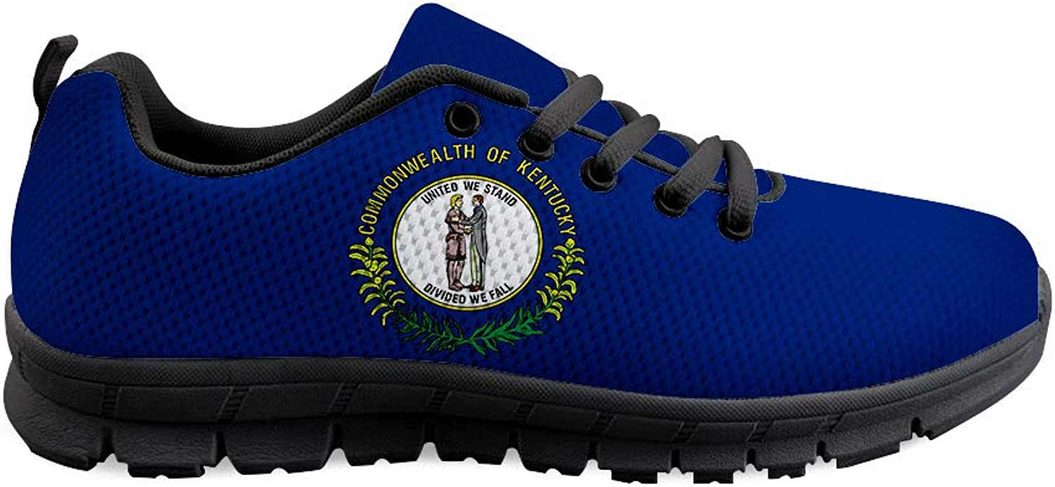 Owaheson Lace-up Sneaker Training shoes Mens Womens United We Stand Kentucky Flag
