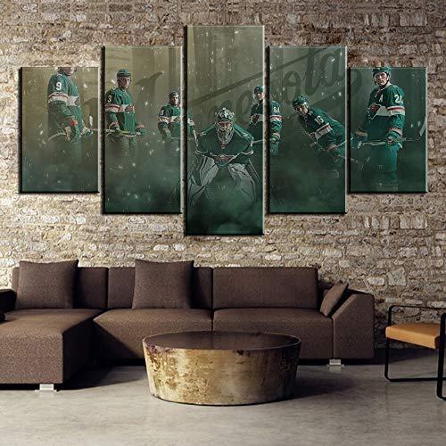 PPWYY 5 Stück Eishockey Mannschaft Sport Cuadros Decoracion Gemälde Segeltuch Wandkunst Bild Haus Dekoration Wohnzimmer Leinwandmalerei,A,20×35×2+20×45×2+20×55×1