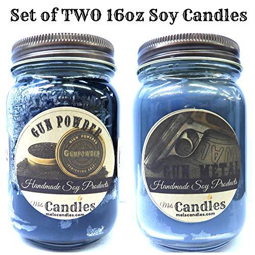 Combo Gun Metal & Gun Powder Set of Two 16oz Country Jar All Natural Soy Candles
