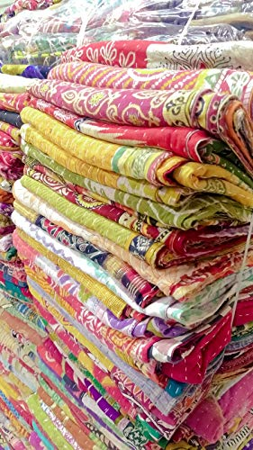 Mycrafts Indian Wholesale Kantha Quilt Lot 5 PCs Tribal Kantha Quilt Vintage Handmade Blanket Patch Kantha Throw Hippie Bohemian Old Saree Made Kantha Rally Twin