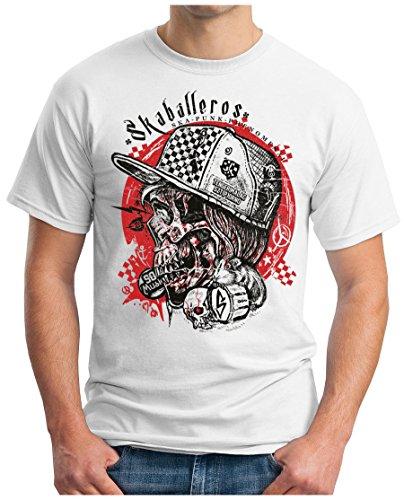 OM3 - SKA-Punk-Phenomenal - T-Shirt SKABALLEROS Band Rock Music Concert Skull Porno Geek, 5XL, Weiß