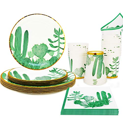 Cactus Birthday Party Supplies for Serves 24, Boho Jungle Theme Disposable Plates,Cups and Paper Napkins for Birthday Baby Shower Bridal Shower Graduation Cactus Party Decorations