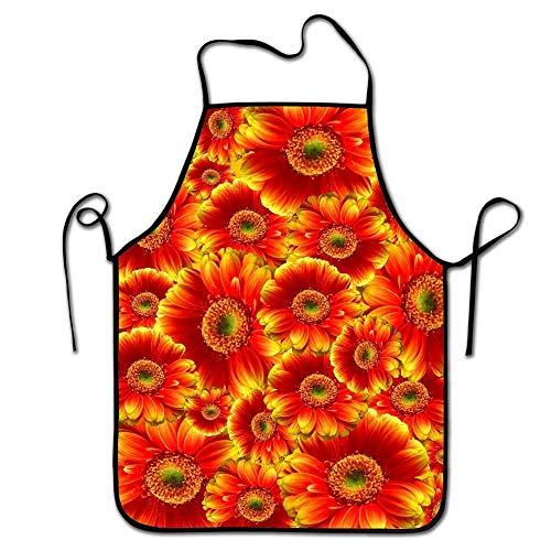 N\A Personnalisé Or bordé de Fleurs Rouges Impression Sangle réglable Tabliers de Cuisine pour Adultes-Mode Bordure Noire Tabliers de Cuisine imperméables pour la Cuisson et Le Barbecue et l'art