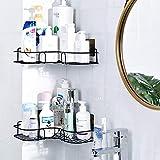 Aelfox 浴室 ラック 強力粘着固定丨シャワーラック お風呂 コーナーラック ステンレス丨お風呂場 ラック 洗面所/調味料 収納棚 金属製(ブラック,2個)