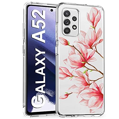 Riyeri Funda compatible con Samsung Galaxy A52 5G, carcasa transparente de silicona TPU para Samsung A52 5G, carcasa antigolpes para A52 Samsung, mármol y flor (A52, orquídea rosa)