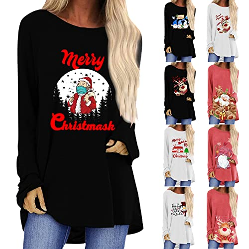 Women's Christmas Sweater Long Sleeve Loose Comfy Crewneck Sweatshirts Novelty Causal Shirts Cozy Pullover Black