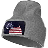 Quintion Robeson Scottish Terrier American Flag Ski Cap Hombres Mujeres Tejiendo Sombreros Stretchy Soft Beanie