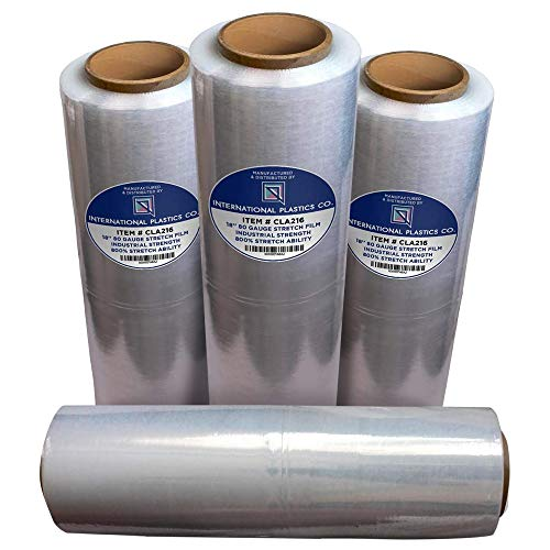 """18"""" Stretch Film/Wrap 1500 feet 7 Layers 80 Gauge Industrial Strength up to 800% Stretch 20 Microns Clear Cling Durable Adhering Packing Moving Packaging Heavy Duty Shrink Film Box of 4"""