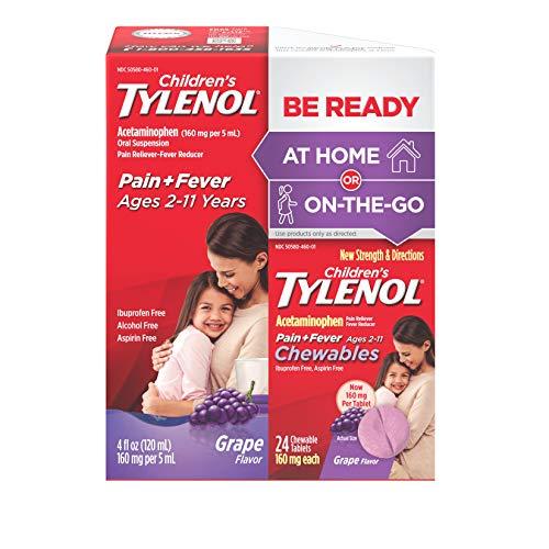 Children's Tylenol Liquid (4 fl. oz) & Chewable (24 ct), Pain Relief, Grape, 2 pc bundle, 1 Count