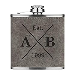 Add text for personalisation above before purchase. Stainless steel 6oz hip flask with grey PU leather luxury feel textured sleeve. 9.5cm high, 9.5cm wide, 2cm deep. Like what you see? We have this design available on a number of other items in our s...