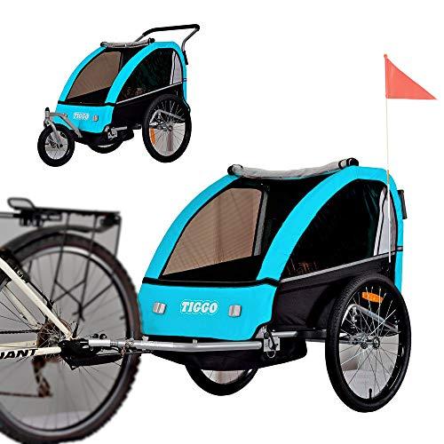 Tiggo Kinderfahrradanhänger Fahrradanhänger Jogger 2in1 Anhänger Kinderanhänger BT605-D03 BLAU