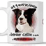 Taza de Border Collie divertida. El perro es docile a morder soy yo. Adecuada para desayuno, té, tisana, café, capuchino. Gadget taza Border Collie. También como idea de regalo original y simpática