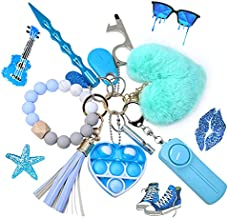 Self Defense Keychain for Women and Girls,Key chain Set for Woman with Personal Safety Alarm,Keychain wristlet with Window Breaker, Pom Pom