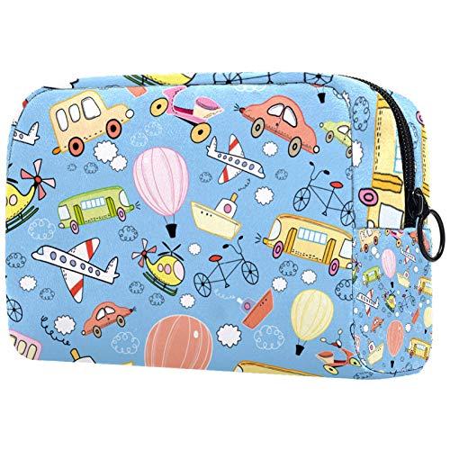 Bolsa de aseo con cremallera, bolsa de maquillaje reutilizable de gran capacidad, bolsa de viaje para cosméticos con juguete para jugar en avión o bicicleta para adolescentes y mujeres