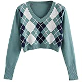 CHMORA - Maglia da donna, alla moda, stile britannico, stile retrò, motivo rombo da donna, lavorato a maglia, cardigan autunno e inverno C-GN S