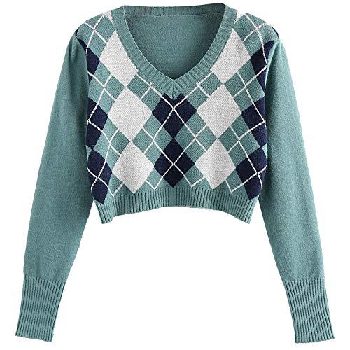 DAY8 Damen Weich Bequem Lässig Mode Argyle Pattern Langarm England Style Warm Halten Pullover Top