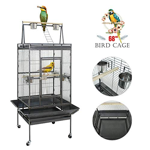 SUPER DEAL PRO 61''/ 68'' 2in1 Large Bird Cage with Rolling Stand Parrot Chinchilla Finch Cage Macaw Conure Cockatiel Cockatoo Pet House Wrought Iron Birdcage, Black (68'')
