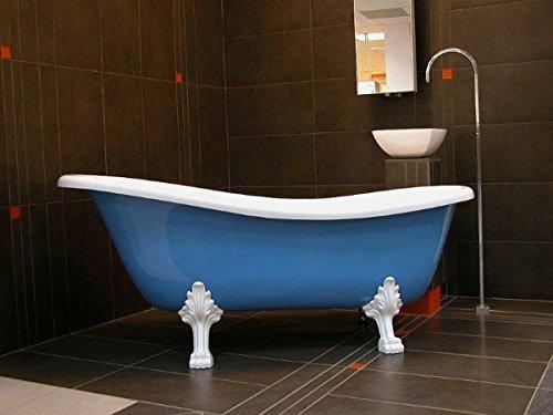 Casa Padrino Freistehende Badewanne Jugendstil Roma Hellblau/Weiß/Weiß 1470mm - Barock Antik Stil Badezimmer