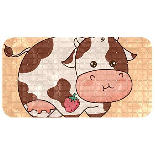 Bennigiry Alfombrilla de bañera para niños, poderosa ventosa para niños, bebés, bebés y toda la familia, 37,3 x 68,3 cm, hermosa vaca