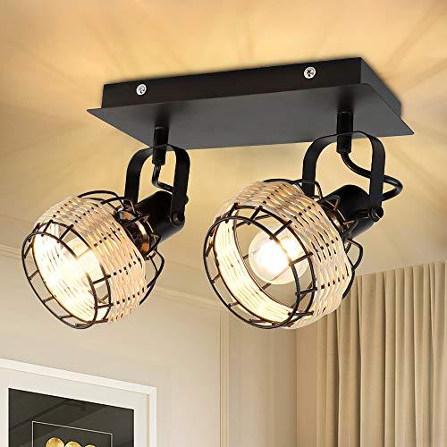 Depuley Deckenlampe Strahler LED aus Rattan, Nature Deckenleuchte 2 Schwenkbare Blätte, Bambus Deckenspot Winkelverstellbar E14-Fassung für Schalfzimmer Wohnzimmer Büro, Ohne Glühbirne