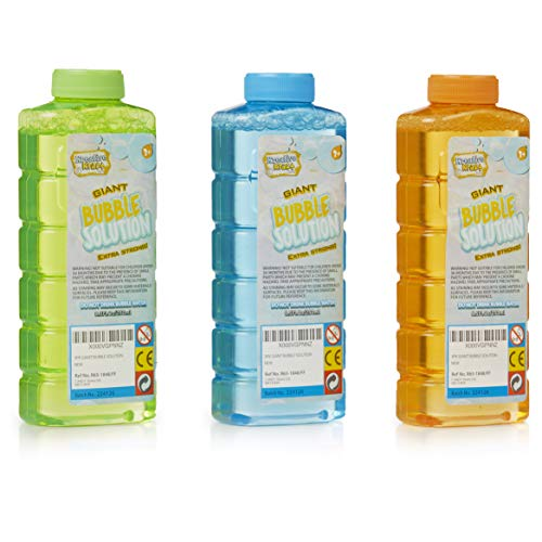 KreativeKraft Liquido per Bolle di Sapone, Ricarica Bolle Sapone Giganti, Confezione 750ml (3 Bottiglie da 250ml) per Macchine Spara Bolle, Kit Bolle Giganti con Bacchette, Giochi Esterno per Bambini