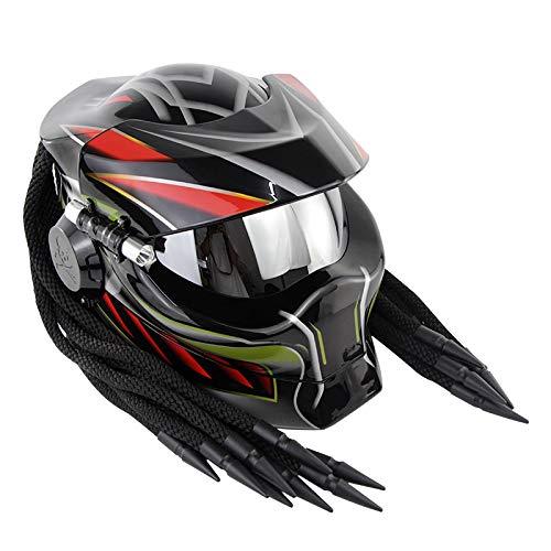 WWtoukui Casque de Moto Predator Creative Cool en Fibre de Carbone Mode Hommes et Femmes Masque Anti-UV Anti-Brouillard Tout Terrain Moto Locomotive Casque int/égral//Certification Dot,M57~58cm