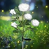 Solarleuchten für den Außenbereich,LED solarbetrieben mit 5 Rosen dekoration Lichter für Garten, Rasen, Terrasse, Hof, Weg, Gehweg, Dekoration, wasserdicht (weiß)