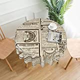 Vintage Collage Newspaper Soft Tablecloth 60 Inch Round , Reindeer Horn Dust-Proof Washable Tabletop Decoration for Kitchen Party Banquet Holiday Dinner Indoor Outdoor