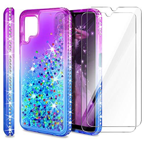 AROYI Cover Compatibile per Samsung Galaxy A12 / Samsung Galaxy M12 con 2 Pezzi Pellicola Protettiva in Vetro Temperato, Brillantini Diamond Sabbie Mobili TPU Silicone Custodia, Porpora Blu Gradient