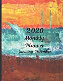 2020 Monthly Planner January - December: Painted Wallpaper Abstract Design | 12 month planner with...