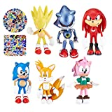 Sonic The Hedgehog Toys for Boys,Sonic Series Action Figures Toys,Sonic Cartoon Theme Collection Playset Suitable for Kids Birthday Party Cake Toppers Cake Decorations Baby Shower Party Supplies 6pcs