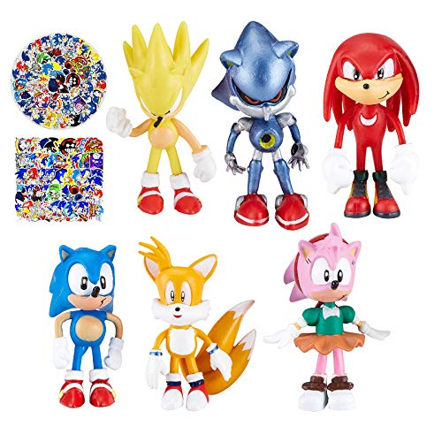 Sonic The Hedgehog Toys for Boys, Sonic Cake Toppers Action Figures, Sonic Cartoon Theme Collection Playset Suitable for Kids Birthday Party Cake Decorations Baby Shower Party Supplies 6pcs