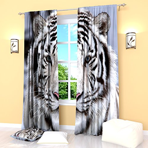 Black White Blue Curtains Tiger Stripe Window Drapes Treatment Curtain Panel Set Animal Print Bedroom Kitchen Living Room 84 Inches