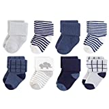 Touched by Nature baby boys Organic Cotton Casual Socks, Blue Elephant, 0-6 Months US