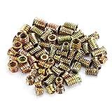 LANTRO JS - Tuercas de inserción de 65 piezas, inserciones roscadas 5 Tamaño M4/M5/M6/M8/M10 Tornillo de cabeza hexagonal de hierro para muebles de madera
