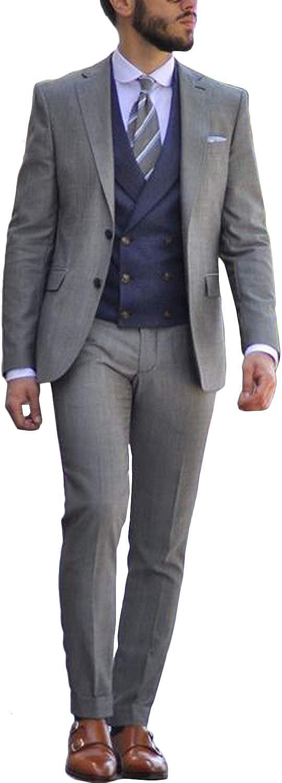 GATMSTZ Men' 3 Pieces Suit Regular Fit Double Breasted Vest Flat Front Pants