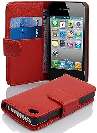 Cadorabo Coque pour Apple iPhone 4 / iPhone 4S / 4G ROUGE CERISE Housse de Protection Etui Portefeuille Case Cover pour iPhone 4 / iPhone 4S / 4G – Stand Horizontal et Fente pour Carte