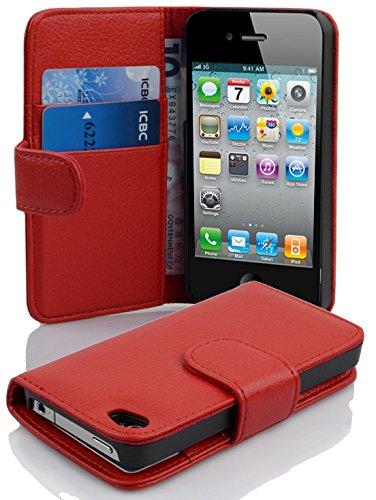 Cadorabo Coque pour Apple iPhone 4 / iPhone 4S en Rouge Cerise - Housse Protection en Similicuir Structuré avec Stand Horizontal et Fente Carte - Portefeuille Etui Poche Folio Case Cover
