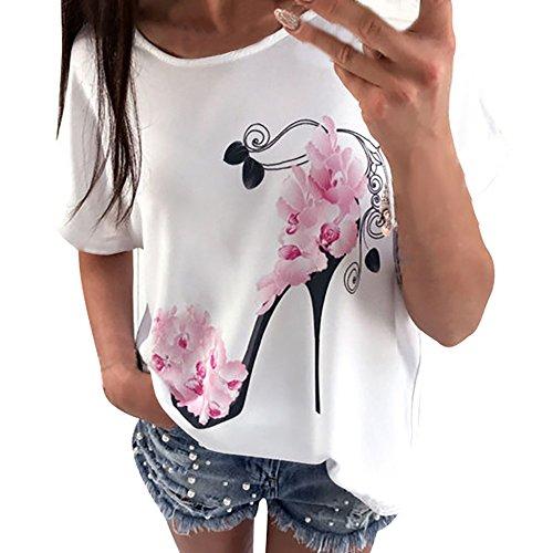 POPLY Frauen Kurzarm Blumen Pumps Gedruckt Tops T-Shirt Strand Beiläufige Lose Bluse Freizeit Top Oberteile (White ,L)