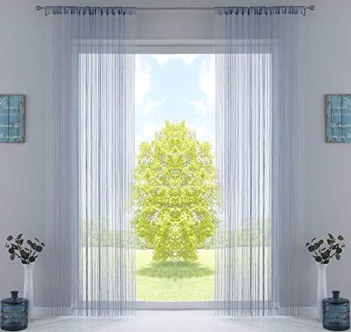 2er Set Fadengardine, HxB 250x140 cm, Grau mit Tunneldurchzug und eingenähtem Kräuselband, geeignet für Gardinenstangen und Gardinenschienen Fadenvorhänge Fadenstores Raumteiler, 20303CN2