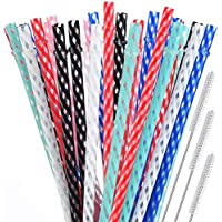 55-Pack Alink Reusable Plastic Straws with Cleaning Brush for Tumblers and Jars