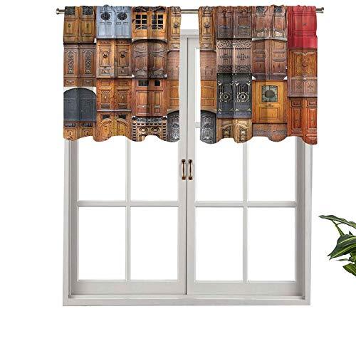 Hiiiman Valencia - Cenefas de cortina con bolsillo para barra (2 unidades, 106,7 x 91,4 cm)